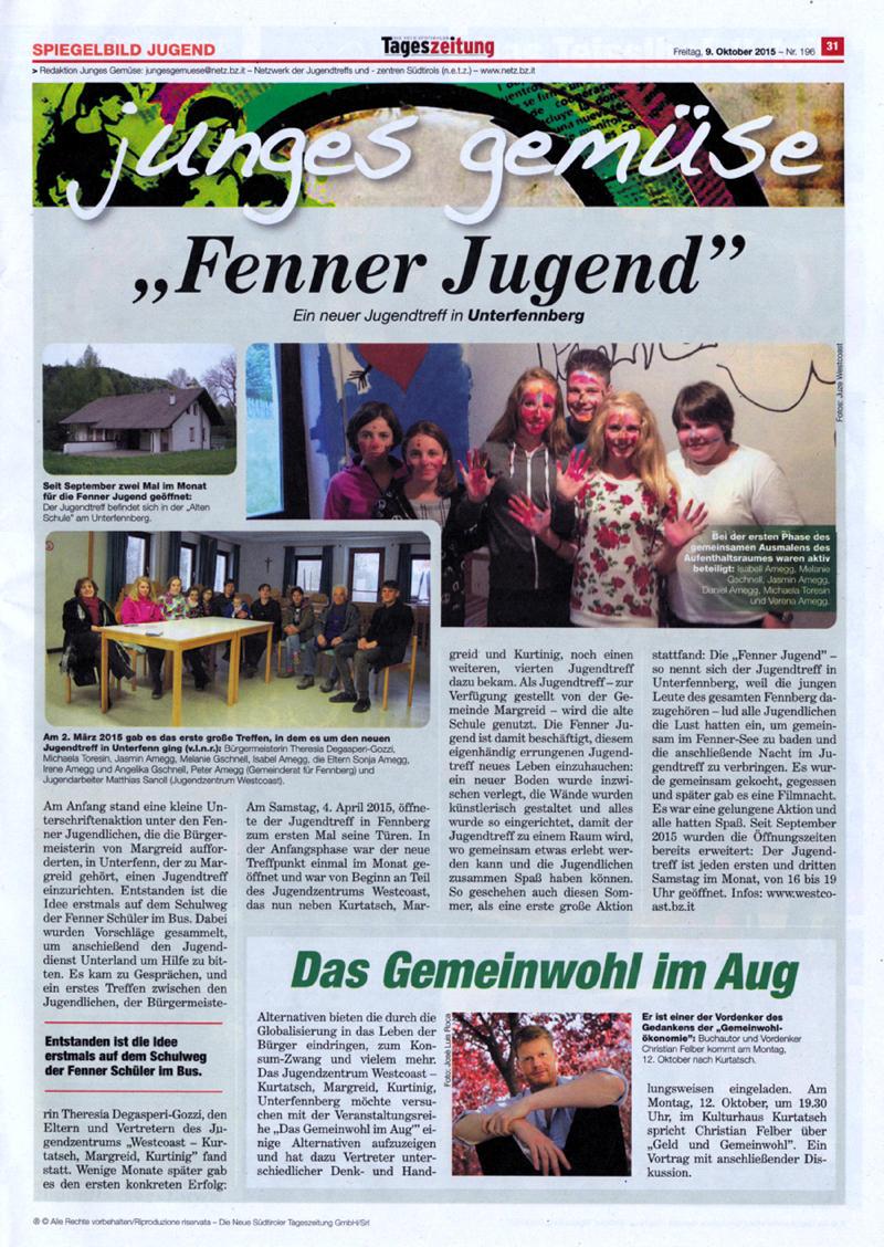 "Artikel über die ""Fenner Jugend"" (""Junges Gemüse"", 09.10.2015)"